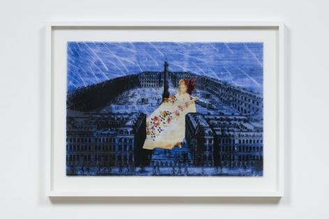 La Comtesse de Castiglione Would Wander I (La Comtesse Place Vendome), 2009, Archival printed acetate, colored light gel and gold foil on plexi glass