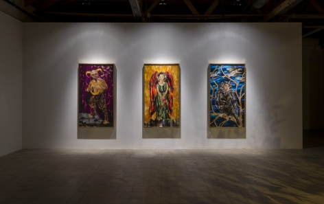 "Installation view of Marnie Weber ""Chapel of the Moon"""
