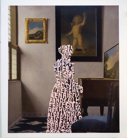 Women Words (Vermeer #4), 2018, Acrylic on book page