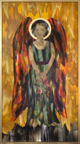 The Angel Waits, 2016, Collage and gold leaf on panel