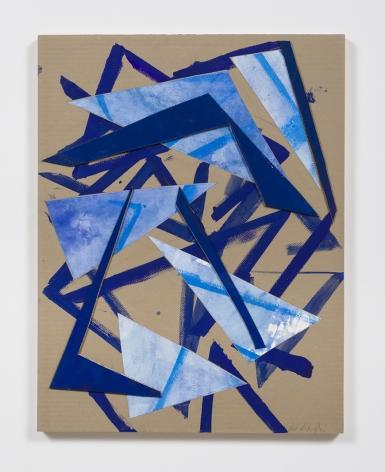 Untitled (tn.ppr.crdbrd.bl.lns.), 2016, Gouache, graphite, glue, paper, cardboard, aluminum and wood panel