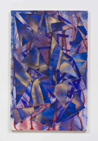 Untitled (bl.rd.flr.ppr.bl.gld.spry.trngls.), 2016, Gouache, graphite, spray paint, glue, paper, cardboard, aluminum and wood panel