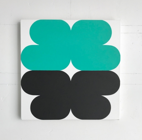 Linda Daniels, Turquoise-Green Black with White, 2017