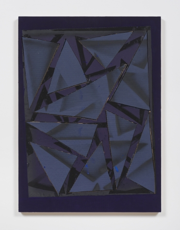 Untitled (prpl.ppr.crdbrd.blk.spry.gry.trngls.prpl.frm.), 2016, Gouache, graphite, spray paint, glue, paper, cardboard, aluminum and wood panel