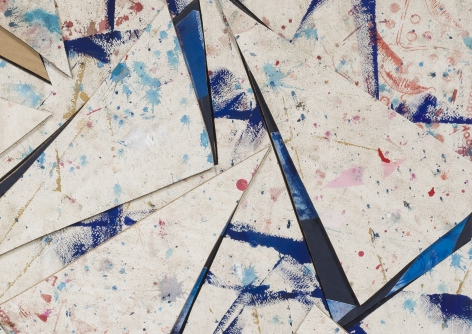 Detail ofUntitled (crdbrd.wht.flr.ppr.wht.crdbrd.trngls.), 2016, Gouache, acrylic, graphite, glue, paper, cardboard, aluminum and wood panel
