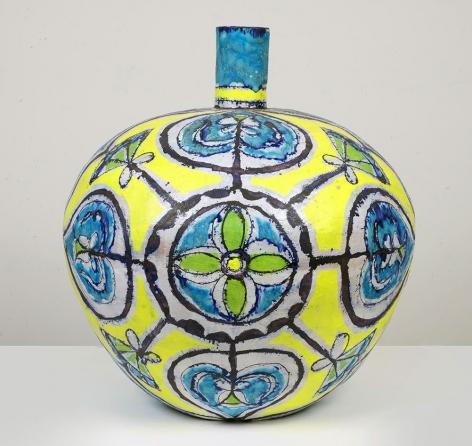 Elisabeth Kley, Large Round Turquoise & Yellow Bottle, 2013