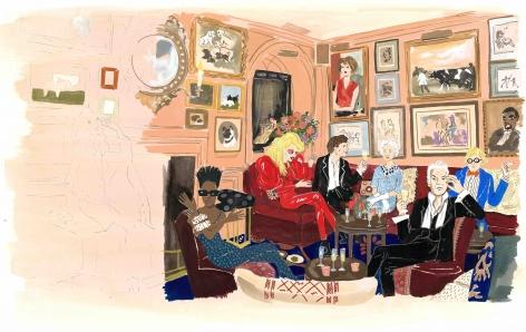 Konstantin Kakanias, Chez Annabel's, 2014, Gouache on paper, 20 x 27.5 inches