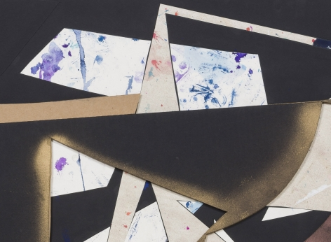 Detail ofUntitled (wht.flr.ppr.blk.ppr.gld.spry.crdbrd.), 2016, Gouache, acrylic, graphite, spray paint, glue, paper, cardboard, aluminum and wood panel