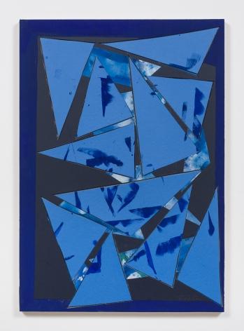 Untitled (bl.ppr.crdbrd.lt.bl.trngls.bl.frm.), 2016, Gouache, graphite, glue, paper, cardboard, aluminum and wood panel