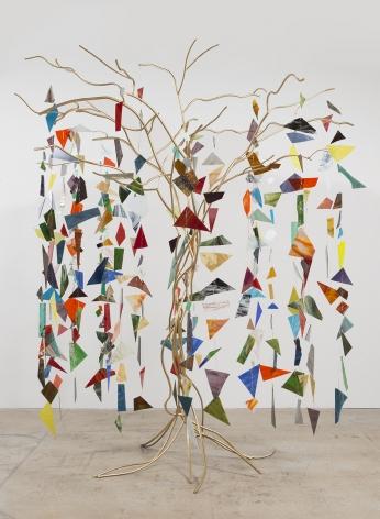 Weeping Willow, 2016, Welded steel, gold enamel, stained glass, brass wire