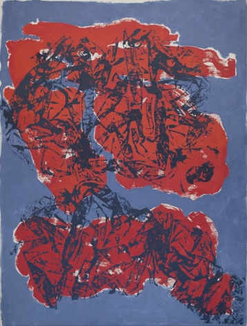 Florence Derive, Red Clouds on Blue, 2015