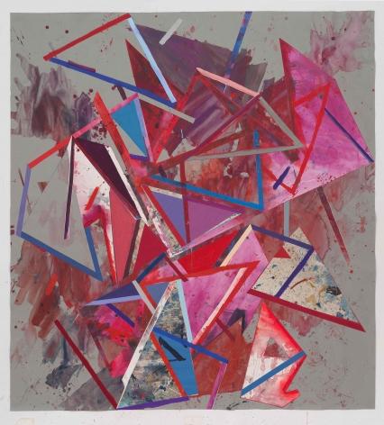 Lecia Dole-Recio, Untitled (lrg.gry.ppr.rd.bl.trngls.), 2014