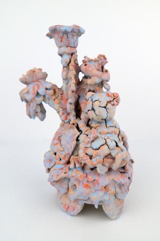 Candelabra (Blue and Orange Bear), 2018, Porcelain over Stoneware, found Ceramic tchotchkes, glaze with over-glaze