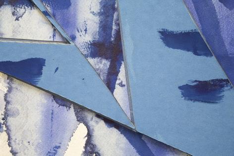 Detail ofUntitled (lt.bl.ppr.crdbrd.lt.bl.trngls.bl.frm.), 2016, Gouache, graphite, glue, paper, cardboard, aluminum and wood panel