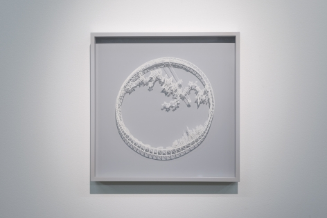 Ring - The Stargazer, 2015, Cut paper, Chinese xuan (rice) paper on silk