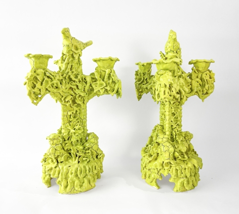 Anthony Sonnenberg Pair of Tri-Prong Candelabras (Acid Green), 2021