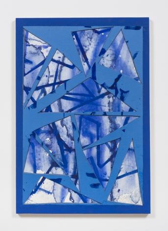 Untitled (lt.bl.ppr.crdbrd.lt.bl.trngls.bl.frm.), 2016, Gouache, graphite, glue, paper, cardboard, aluminum and wood panel