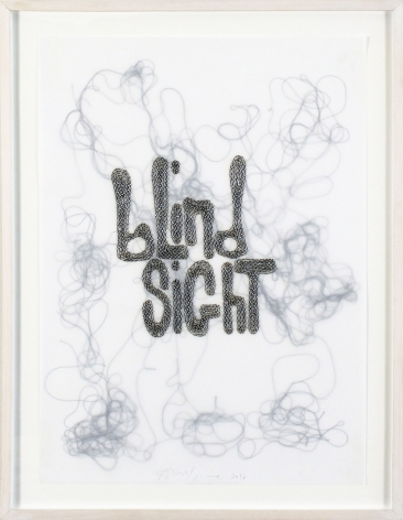 Blind Sight, 2016, Glass beads and thread on vellum