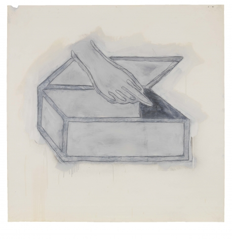 Hand with Box, 1980, Graphite, spray enamel and oil-based enamel on paper