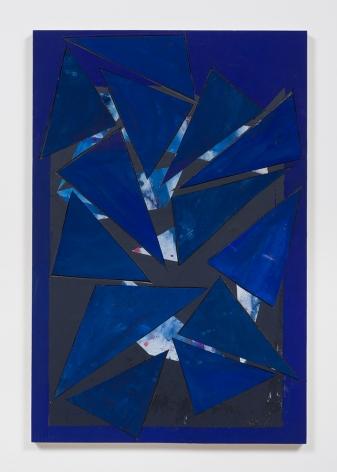 Untitled (bl.ppr.crdbrd.bl.trngls.bl.frm.), 2016, Gouache, graphite, glue, paper, cardboard, aluminum and wood panel