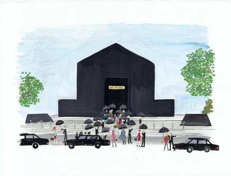 An Artist's Diary of Paris Fashion Week (Fashion Funeral), 2014, Gouache on paper