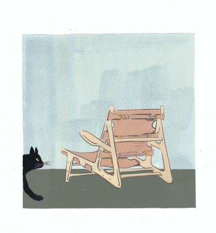 Konstantin Kakanias Buckle Up (Borge Mogensen's 1950 Hunting Chair), Gouache on paper