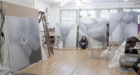 Betty Tompkins in her studio, 2011