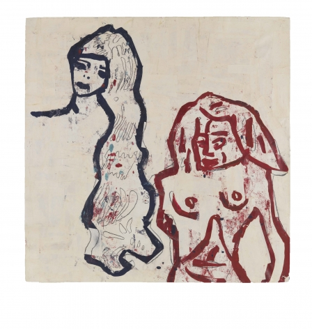 Girl and Bather, 1983, Acrylic, tempera, graphite and paper collage on paper
