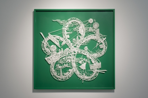 Flower Knot - The Moon Cyclist, 2015, Cut paper, Chinese xuan (rice) paper on silk