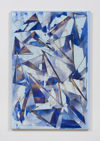 Untitled (lt.bl.flr.ppr.brnz.crdbrd.), 2016, Gouache, graphite, spray paint, acrylic, glue, paper, cardboard, aluminum and wood panel