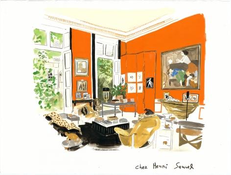 Henri Samuel's Modernist Twist, 2014, Gouache on paper