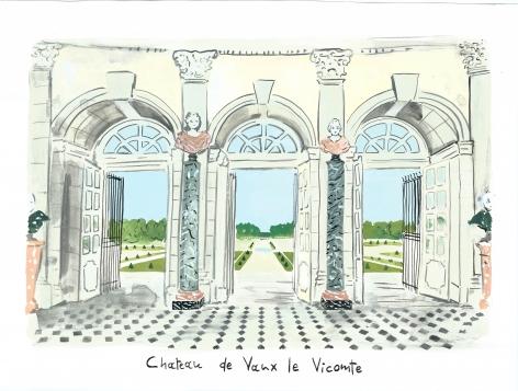 Deja View (Vaux le Vicomte), 2014, Gouache on paper