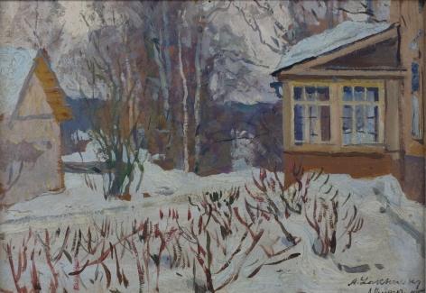 Arnold Lakhovsky Russian Winter Scene Oil
