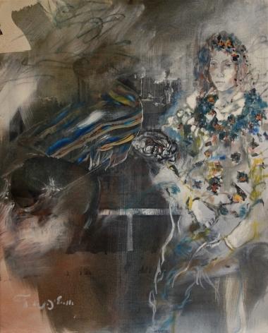Uri Lifshitz Israeli Artist Woman Oil on Canvas Signed in Hebrew