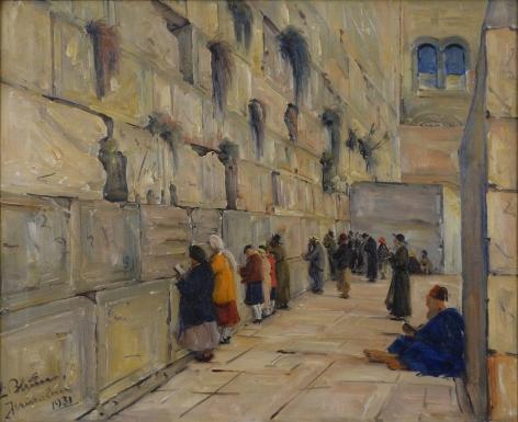 Ludwig Blum Oil on Canvas Wailing Wall, Jerusalem