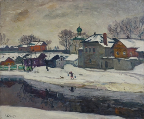 Arnold Lakhovsky Russian Winter Oil on Canvas