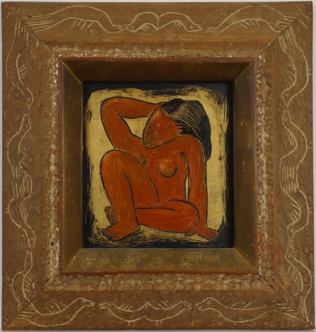 Angel Botello Crouching Nude Oil and Gold Leaf on Masonite