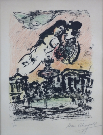 Marc Chagall The Lovers' Heaven 1963 Lithograph