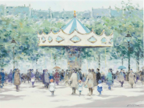 Andre Gisson Carousel Oil on Canvas