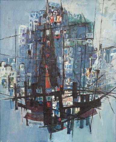 Zvi Mairovich Haifa View Oil on Canvas Signed