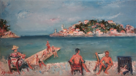 Jacques Zucker Polish Figures on the Beach Oil on Canvas