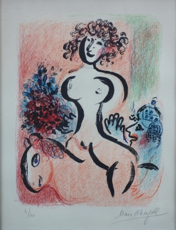 Marc Chagall Circus Rider with Bouquet 1963 Lithograph
