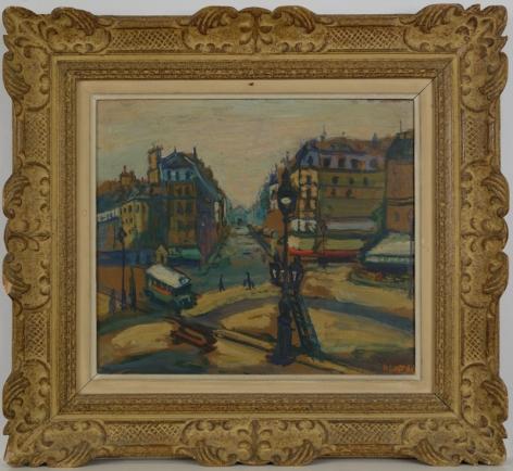 Arbit Blatas Mime Paris Street Scene Oil