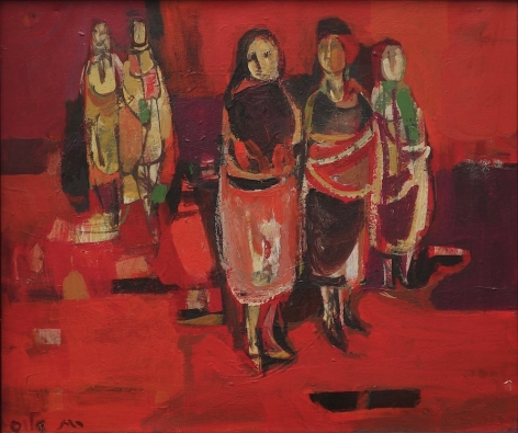 """Ruth Schloss Israeli (1922 – 2013) Women at the Market Oil on Canvas H 13.75"""" x W 16.25"""" Signed in Hebrew Lower Left"""