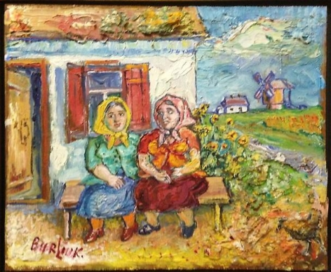 David Burliuk Peasant Women oil Signed