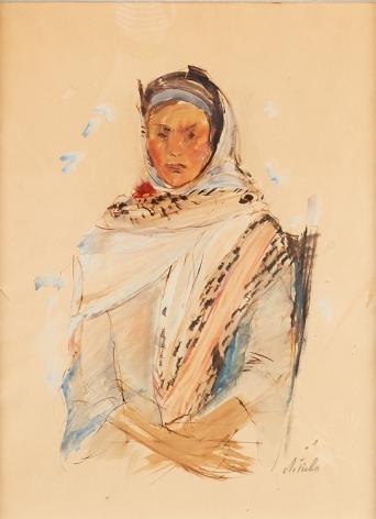 Anna Ticho Israeli  Native Woman Watercolor on Paper