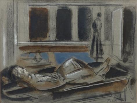 Joseph Floch Reclining Figure Charcoal on Paper