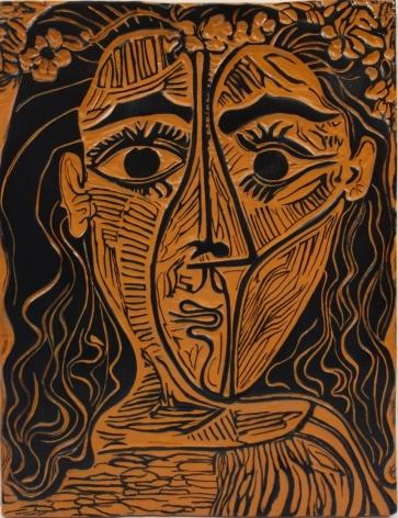 Pablo Picasso Tete de femme a la couronne de fleurs 1964 ceramic