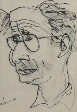 Marcel Janco Drawing Portrait of Mordecai Ardon
