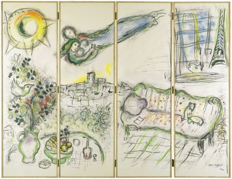 Marc Chagall Paravent Screen Lithograph 1963